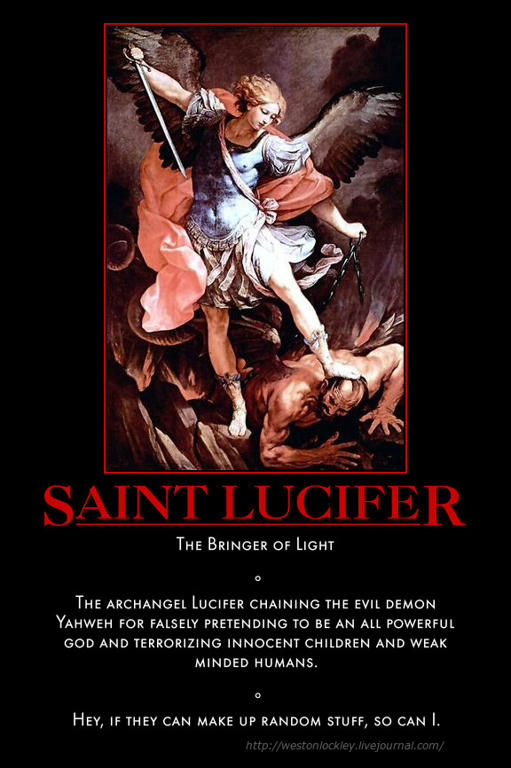 Saint Lucifer chaining the evil demon Yahweh